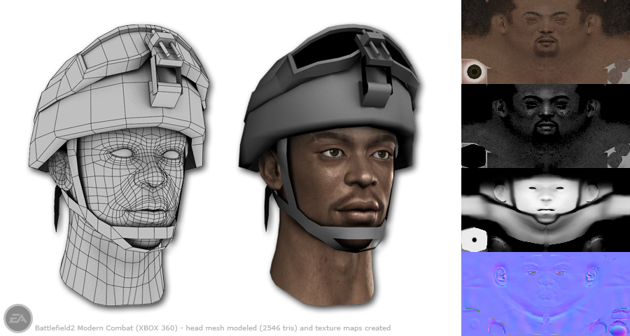 Battlefield 2 head (2546 tris) model and textures (2006)
